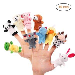 10pcs / set Cartoon Hayvan Parmak Çocuk Güzel Çocuk Peluş Oyuncak Bebek Favor Bebekler vingerpoppetjes için Kukla Bebek Peluş Oyuncak
