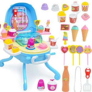 Легкая музыка Мороженое Таблица Dessert станция Сымитированный девушка Play House Ice Cream игрушки Установить семьи Интерактивные образовательные игрушки