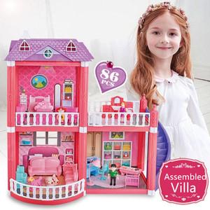 DIY الأميرة بيت الدمية فيلا صغيرة حلم الوطن البيت القلعة غرفة محاكاة حلم فتاة لعبة الأطفال الأثاث مصغرة هدية Y200413