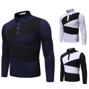 2020 роскошь моды дизайнер мужской рубашки поло мужчин высокого качества рубашки поло рубашки Человек нагрудные Длинные рукава Мужская одежда горячей продажи Y593