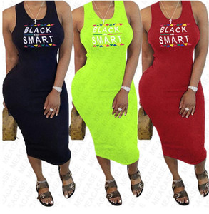 Черный смарт печатание письма Женские платья лета конструктора платья Sexy Bodycon рукавов Пляж Повседневный плиссированные платья Одежда S-XXL D7608