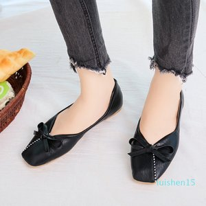 Spring New Fashion Flat Shoes Solid Color Casual Wild Slip-On Sweet Bow Shallow Square Toe Luxury Shoes Women Designers l15