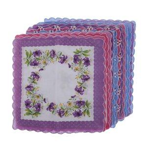 Pocket Sqaure Hanky Violet Whith15pcs Femmes Vintage Floral coton imprimé Mouchoir