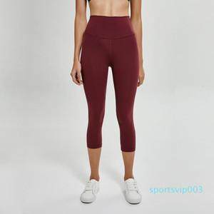 High Waist Atheltics yoga legging Capris LU-35 candy color Sports Elastic Fitness Leggings Slim Running Gym Pants