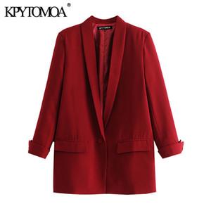 KPYTOMOA Donne 2020 Ufficio Fashion Wear Tasche giacca sportiva del cappotto vintage manicotto dei tre quarti femminile Cappotti Chic Tops