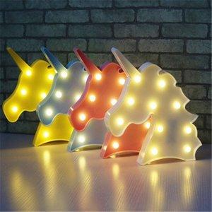 Netter Einhornkopf führte Nachtlicht-Tierfestzelt-Lampen auf Wand für Kinderpartei-Schlafzimmer-Weihnachtsdekor-Kindergeschenke ST220