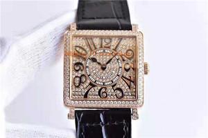GF Frau Designer-Uhren Master-Platz 6002 Frauen Uhren Schweizer Quarzwerk voller Diamant Casedial Bogen Sapphire Rose Gold 316L Stahl