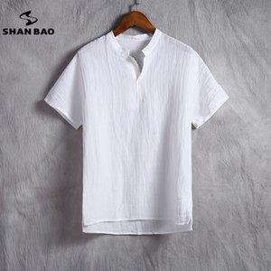 Shan Bao Марка мужская льняная белая футболка Summer Thin Section Удобная дышащая высококачественная свободная футболка с короткими рукавами Y190509