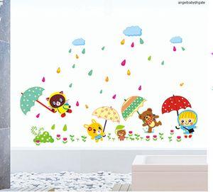 Camera Orso Cartoon Stickers Ay649 Cartoon cloud adesivi in vinile Umbrella bambini decorazione adesivi PVC trasparente Film