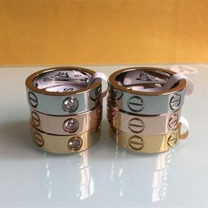 Мода женщин мужчины Известный бренд кристалл ювелирные изделия картер любовь кольца роскошь титана стали розового золота любителей драгоценностей пара кольцо