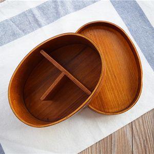 El almuerzo japonesa cajas Bento caja de madera hecha a mano de madera natural de Sushi Box Vajilla Tazón envase de alimento 2 colores personalizables DBC BH3099