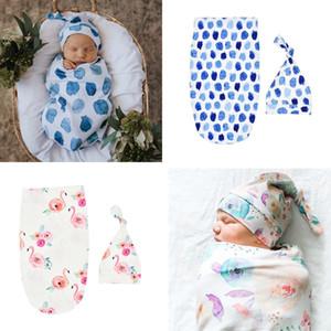 Baby Sleeping Bag Knotted Cap Two Piece Set Boys Girls Sleeping Bag Hat Animal Newborn Cocoon Printing Sleeping Bag Set CZ309