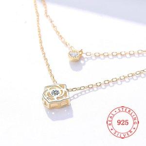 중국 Jewellry 제조 업체 도매 선전용 선물 골드 중공 꽃 목걸이 로즈 펜던트 목걸이 보석 무료 배송
