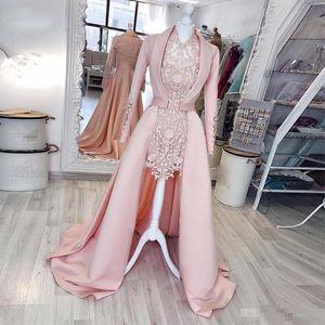 Modern İki Adet Pembe Kılıf Kısa Abiye ile Ceket V Boyun Uzun Kollu Tam Dantel Parti Abiye Saten kadın Özel Durum Elbise