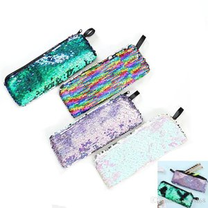 Mermaid Sequins Makeup Pouch For Women Cute Pencil Case For Student Zipper Clutch Handbag Cosmetic Storage Bag Coin Bags HH7-2065