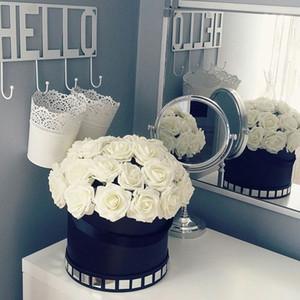 25 머리 8CM 새로운 다채로운 인공 PE 거품 장미 꽃 신부 꽃다발 가정 결혼식 장식 Scrapbooking DIY 공급 T200319