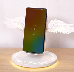 Wireless Charging Dock 10W Angel Wings Schnell-Ladegerät für Universal-Handy Huawei iPhone Samsung mit Nachtlicht Bücherregal Ornament