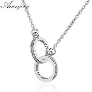 Anenjery 925 Sterling Silver Double Circle Cz Zirconia Pendenti delle collane per le donne regalo Kolye Choker Collares Bijoux S-n61 T190702