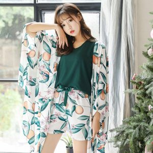 ZDFURS* 2019 New Daily Spring Autumn Women's Pajama Set 4 Piece Home Style Sleep Set Sweet Loose Leaves Sleepwear Female