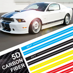 Carbon Fiber Car Wrap Stickers GT Logo Car Side Stripe Racing Sport Car Body Stickers and Decals For Ford Mustang