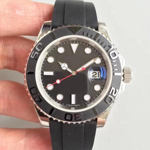 Reloj para yate 116655 serie 40 MM cerámico clásico plateado caja de cristal de zafiro movimiento mecánico automático correa de caucho