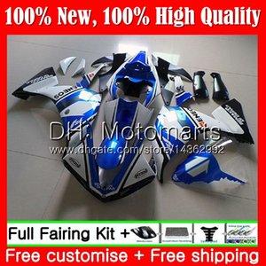 Iniezione Bodys Blu bianco Per YAMAHA YZF 1000 YZF R 1 YZFR1 13 14 100MT3 YZF-1000 YZF R1 13 14 YZF1000 YZF-R1 2013 2014 Carenatura Carena