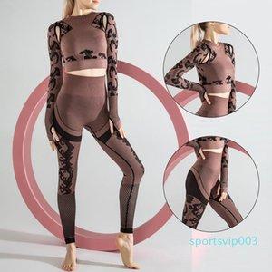 2 Adet Kadınlar Yoga Seti Eşofman Kadınlar egzersiz karın kontrolü konfeksiyon dikişsiz seksiliğin 008 için kırpılmış Sütyen + Uzun Pantolon Spor Spor Suit setleri