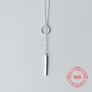 100% 925 925 Sterling Silver Circle Strip Bar Pingente Colares Ajustável Colares para Mulheres Casamento Jóias Presentes Long Chain Colar
