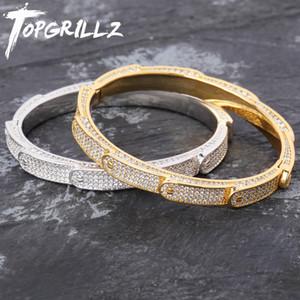Новая персонализированная Твердая Iced Out Мужские браслеты шарма браслет Iced Out Золото Серебро Цвет Браслеты Hip Hop Bling ювелирные подарки