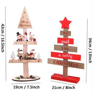 Árvore decoração de mesa Feliz Natal Criativo Árvore de Natal de madeira Ornamentos Papai Noel Xmas Tree desktop Decoração DBC BH2434