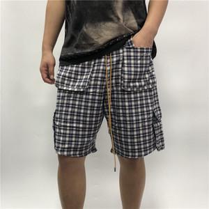20ss Verão EUA Newyork Rhude PIJAMA shirt curto Calças Cheques cordão Shorts Mulheres Homens High Street Média calças Jogging Calções