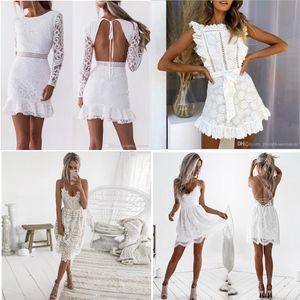 Женщины Выдалбливают Белое Кружевное Платье 2020 Весна O-Образным Вырезом С Длинным Рукавом Спинки Сексуальная Bodycon Оболочка Вечерние Платья Леди Вечернее Платье Лето Осень