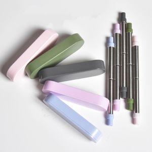 Раскладной телескопической соломинки из нержавеющей стали 304 Многоразовые соломинки для еды с ящиком для хранения Eco Friendly 20tc E1