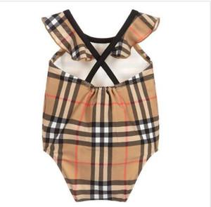 hot sale new high end one -piece swim baby girls jumpsuits Classic lattice swimwear girl swimsuit kids beach clothing