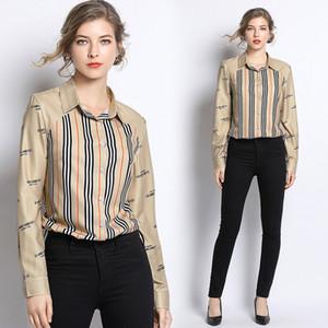 delle donne di seta Primavera Autunno classico di lusso a strisce Stampa OL Camicie Donna Casual Button Front Office Lapel Long Neck Camicie maniche Camicie Tops