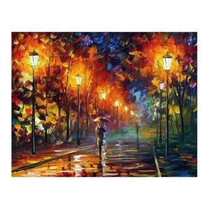 24x36 نقية رسمت باليد قماش اللوحة الانطباعية البليت سكين الزينة نمط المشهد عشاق الرومانسية المشي في الشارع
