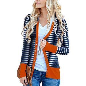 Осень Womens Дизайнерские куртки с панелями Женские полосатые печатные пальто с длинным рукавом Повседневная женская верхняя одежда с однобортным