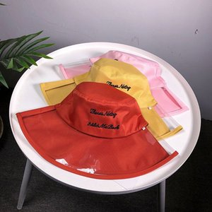 Women Girls Semi Transparent Plastic Beach Sun Visor Fisherman Hat Letters Embroidered Hip-Hop Wide Brim Flat Top Bucket Cap