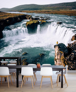 Personalizado 3D Mural Wallpaper Home Decor selvagem Cachoeira Natureza Paisagem 3D Photo Wall Paper para sala de estar Quarto
