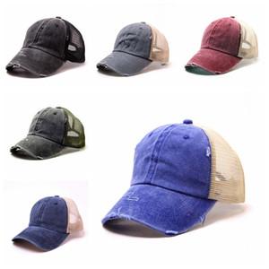 Омывается хвостик Бейсболка Vintage Мужчины Регулируемое Snapback Unisex Plain Hat Открытый женщина Mesh Спорт Путешествия ВС Cap TTA1124LJ-TTA
