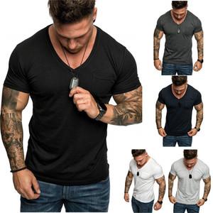 Herren Designer-T-Shirts mit V-Ausschnitt Kurzarm beiläufige Oberseiten der Art und Weise plus Größe Mens-Sommer-T-Shirts
