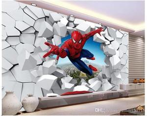 Grandes murales 3 d hombre araña, ayudante personal hombre de hierro sala de murales fondo la personalidad de dibujos animados papel pintado los niños la decoración del hogar