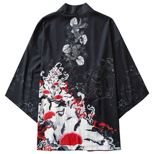 Японские Кимоно куртка Ukiyoe Koi Fish печати Harajuku 2020 Hip Hop Мужчины Япония Streetwear куртка лето Thin Одежда Сыпучие Кимоно