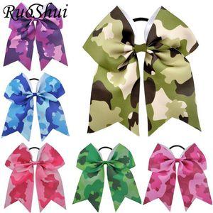 7 pulgadas grande camuflaje Impreso Cheerleading arco de la cinta grosgrain arquea la venda elástico del Ponytail de mujeres / Accesorios para el cabello