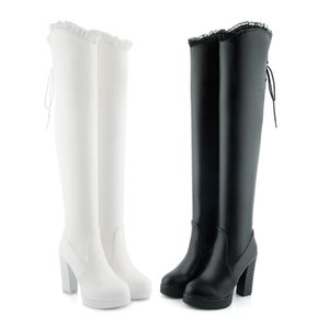 Hot Sale- European and American Korean edition of the new pure color coarse height and waterproof platform stretch the kne GUOT 063