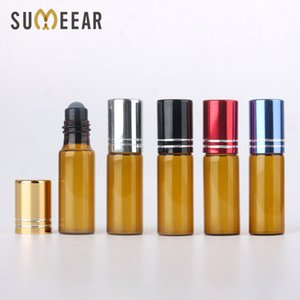 100 Pieces Lot 5ML Essential Oil Bottles Roll On Amber Glass Bottle Refillable Perfume Bottle Travel Cosmetic Container