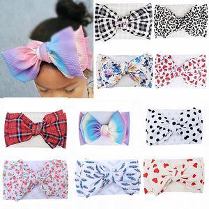 13 Colors Baby Girls Big Bow Headbands Kids Plaid Hair Bows Elastic Headwear Headdress Floral Bowknot Hair band Headwrap Turban M2055