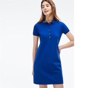 Frauen-Sommer-Kleid Art und Weise 100% Baumwoll-Shirt-Kleider zufällige Polo Kleidung A-Linie Rock Frisches süßes Kleid