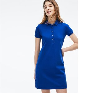 Womens Summer Dress Fashion 100% Cotton Shirt Dresses Casual Polo Clothing A-Line Skirt Fresh Sweet Apparel
