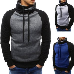 Sweater Male Casual Clothing Mens Colorblock Turtleneck Hoodies Casual Spring Autumn Long Sleeves Pullover